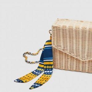 Zara - Woven Raffia Crossbody Basket Straw Bag